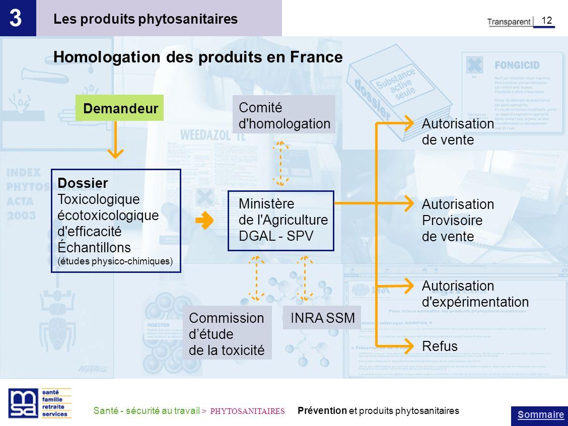 3 Homologation des produits en France Les produits phytosanitaires