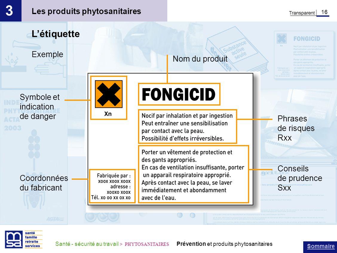 3 L'étiquette Les produits phytosanitaires Exemple Nom du produit