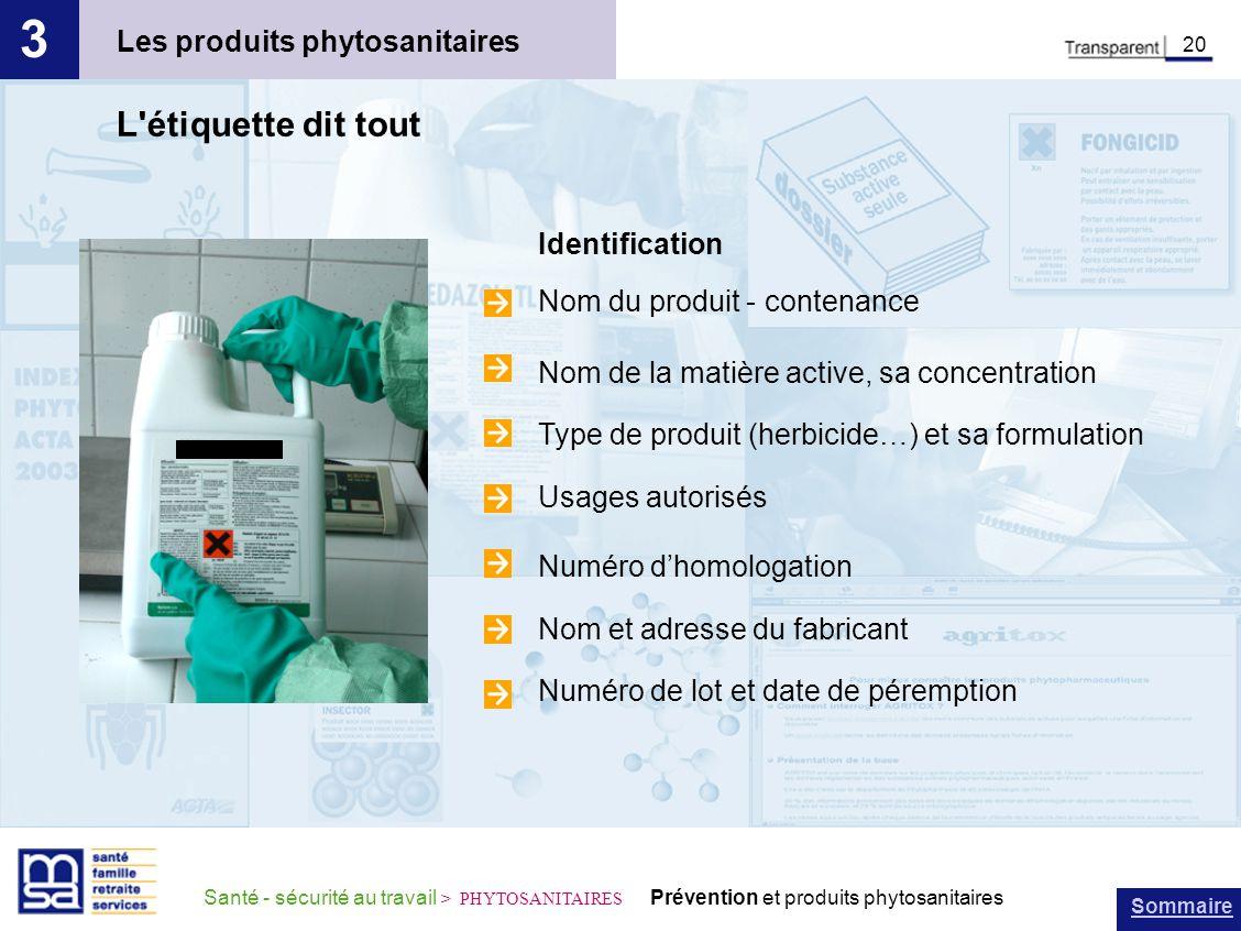 3 L étiquette dit tout Les produits phytosanitaires Identification
