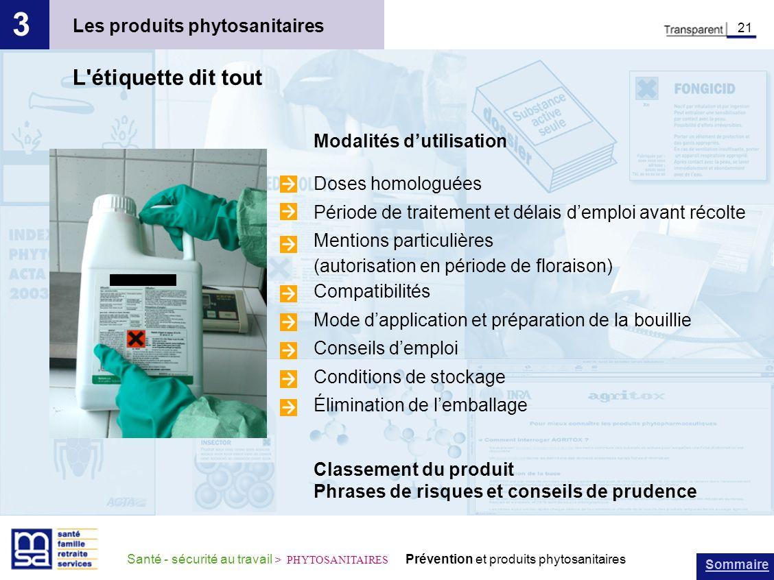 3 L étiquette dit tout Les produits phytosanitaires