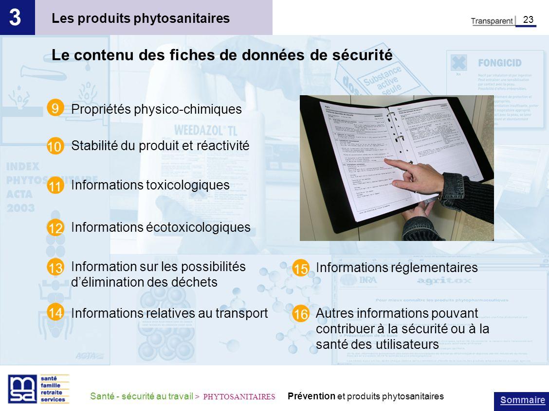 3 Le contenu des fiches de données de sécurité
