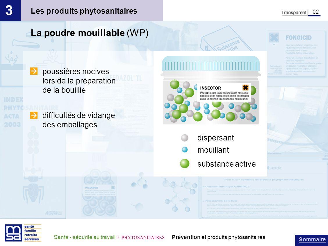 3 La poudre mouillable (WP) Les produits phytosanitaires