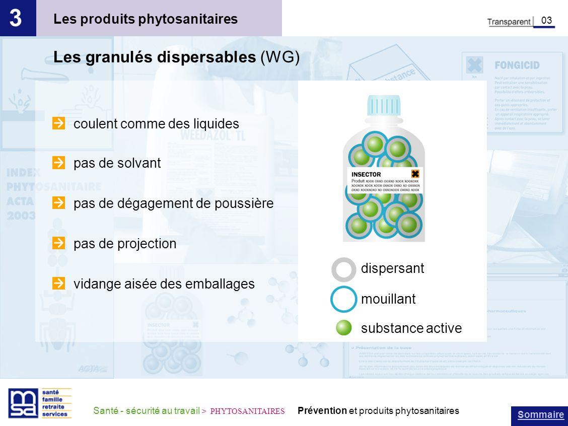 3 Les granulés dispersables (WG) Les produits phytosanitaires
