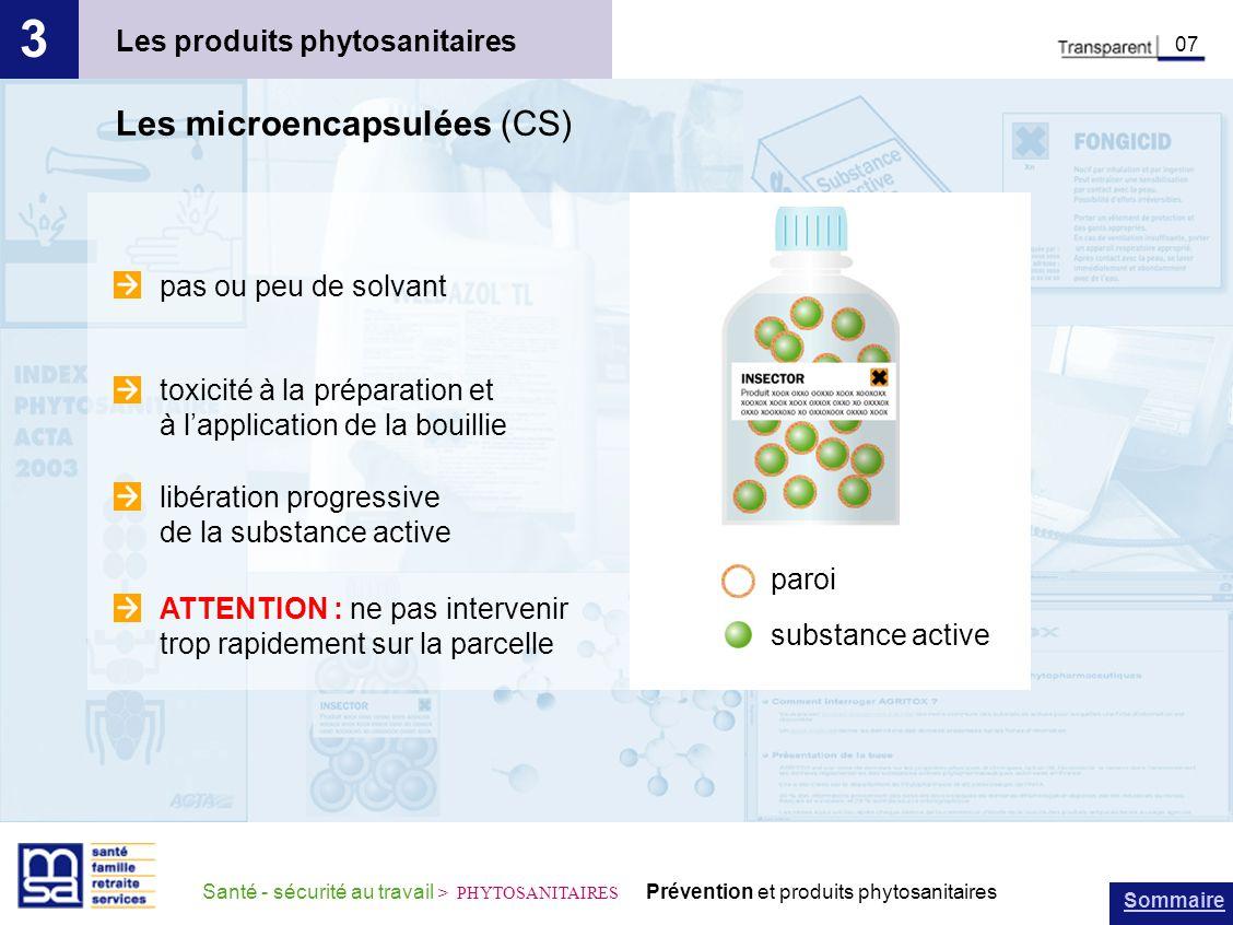 3 Les microencapsulées (CS) Les produits phytosanitaires
