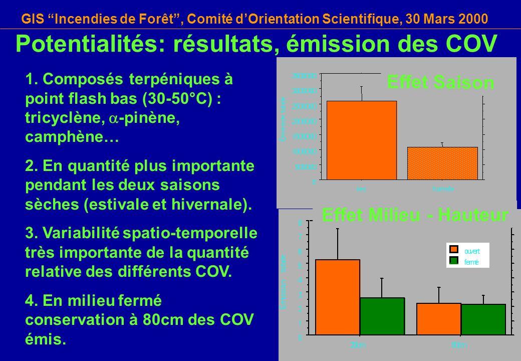 Potentialités: résultats, émission des COV