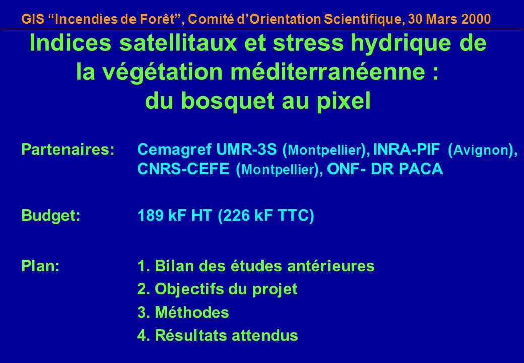 Indices satellitaux et stress hydrique de la végétation méditerranéenne : du bosquet au pixel