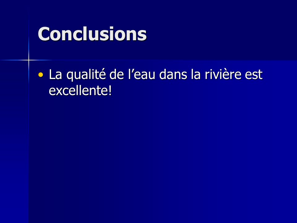 Conclusions La qualité de l'eau dans la rivière est excellente!