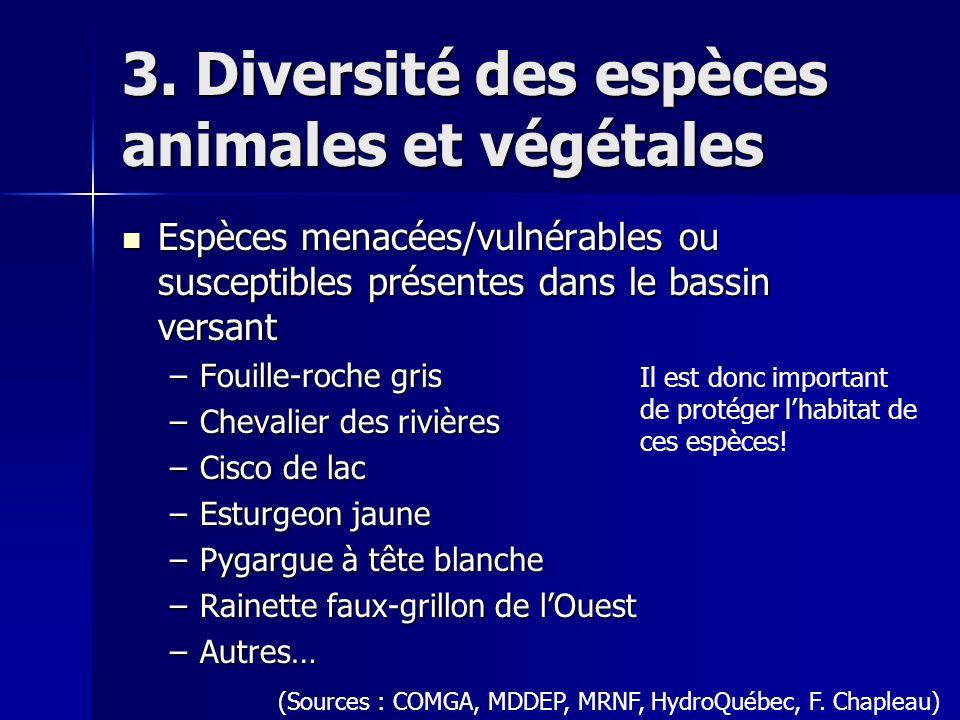 3. Diversité des espèces animales et végétales