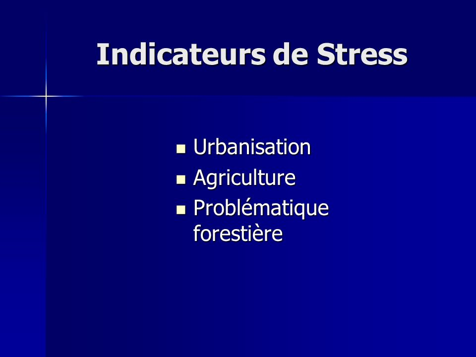 Indicateurs de Stress Urbanisation Agriculture