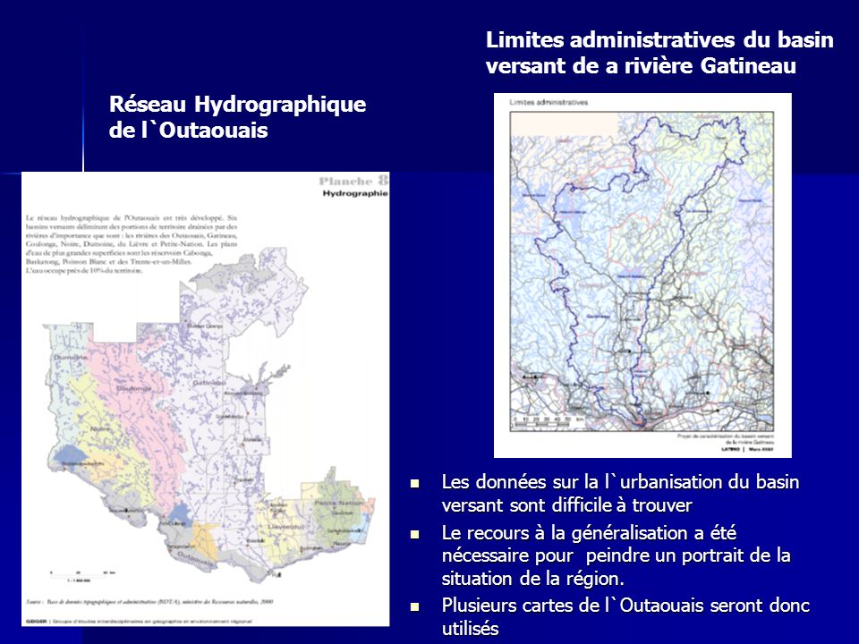 Limites administratives du basin versant de a rivière Gatineau