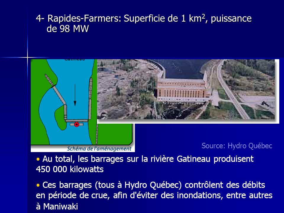 4- Rapides-Farmers: Superficie de 1 km2, puissance de 98 MW