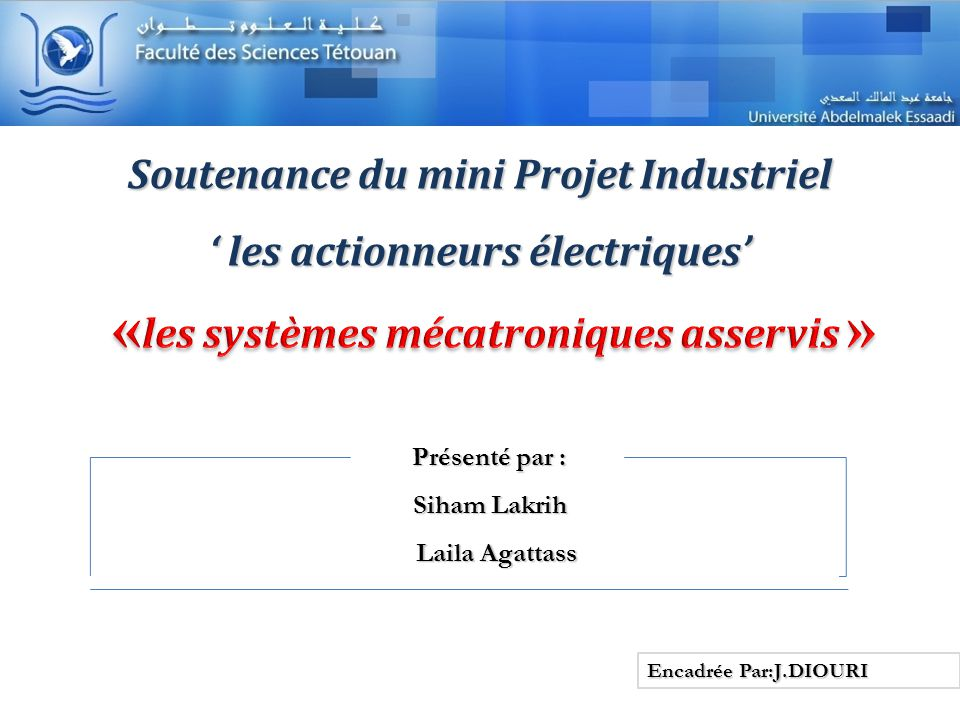 Soutenance du mini Projet Industriel ' les actionneurs électriques'