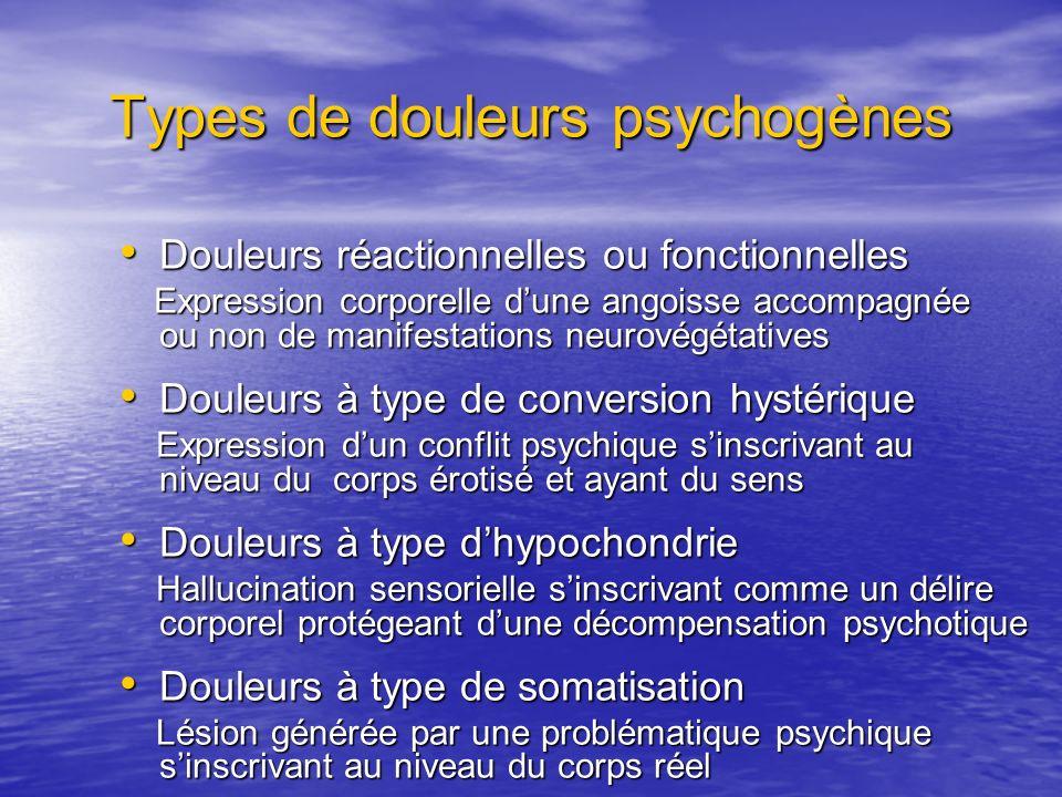 Types de douleurs psychogènes