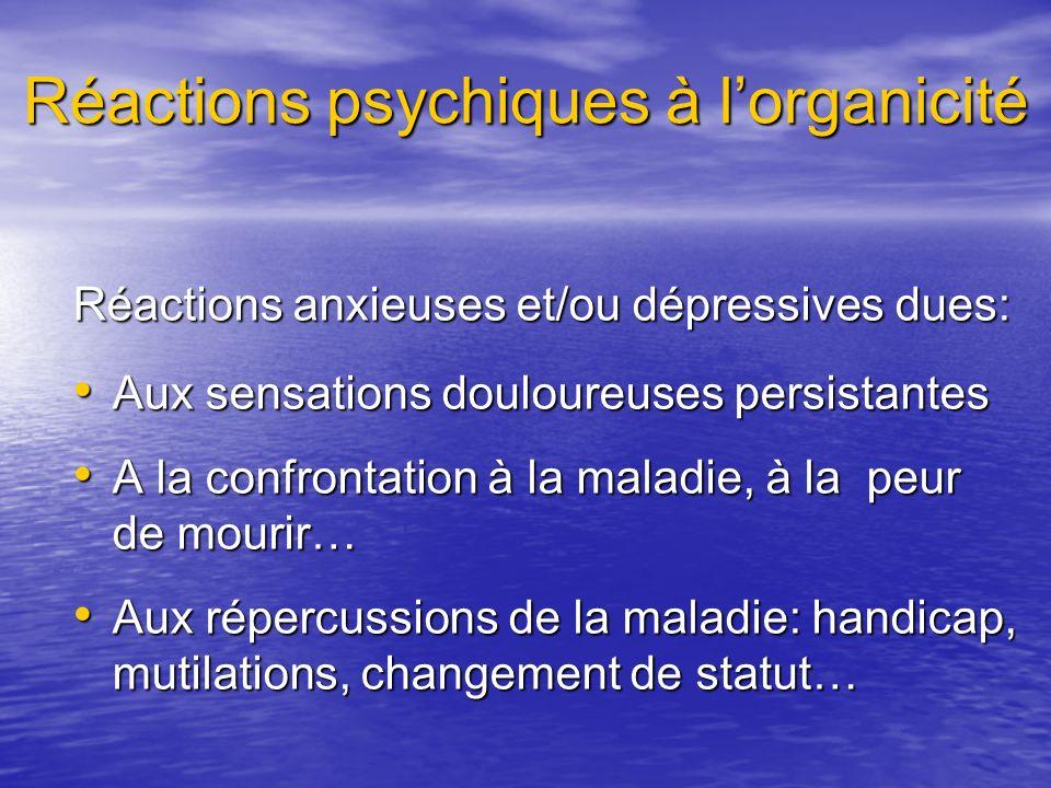 Réactions psychiques à l'organicité