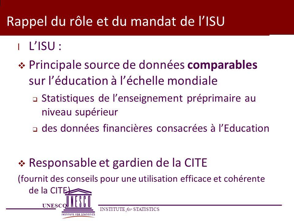 Rappel du rôle et du mandat de l'ISU