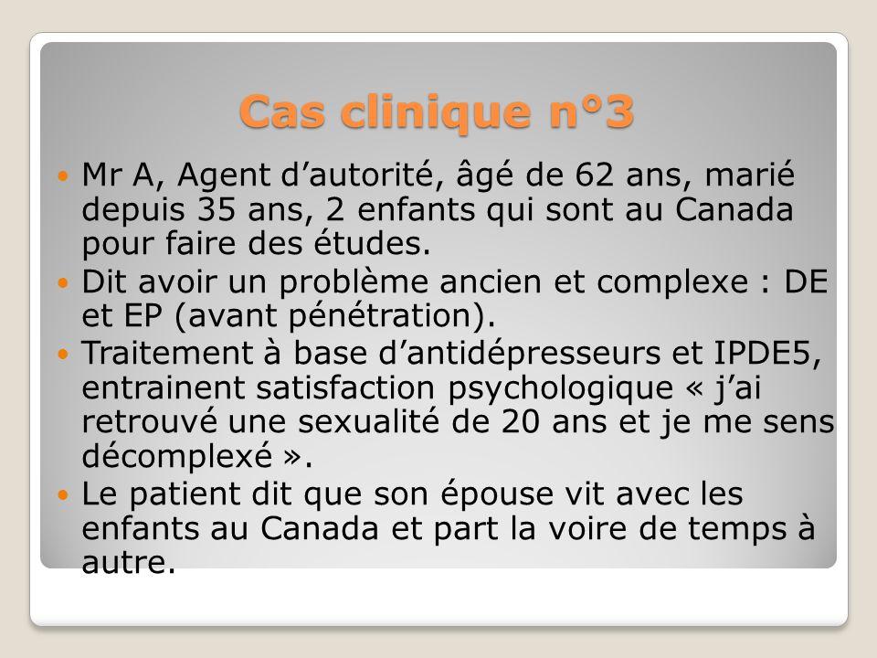 Cas clinique n°3Mr A, Agent d'autorité, âgé de 62 ans, marié depuis 35 ans, 2 enfants qui sont au Canada pour faire des études.
