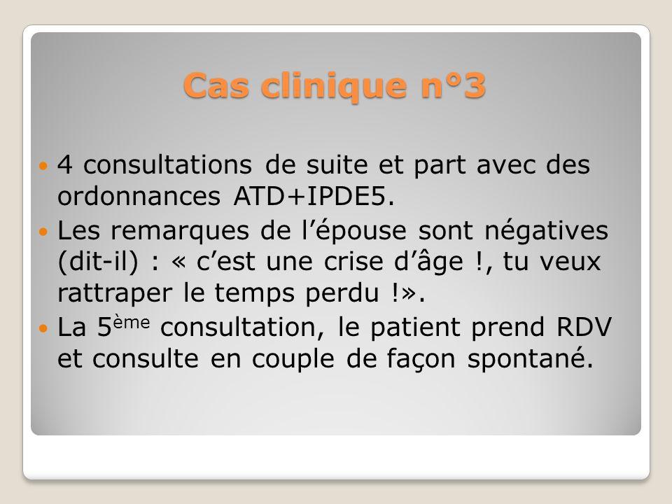 Cas clinique n°3 4 consultations de suite et part avec des ordonnances ATD+IPDE5.