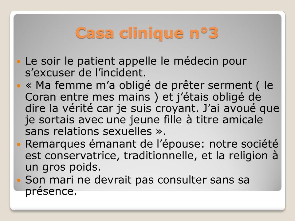 Casa clinique n°3Le soir le patient appelle le médecin pour s'excuser de l'incident.