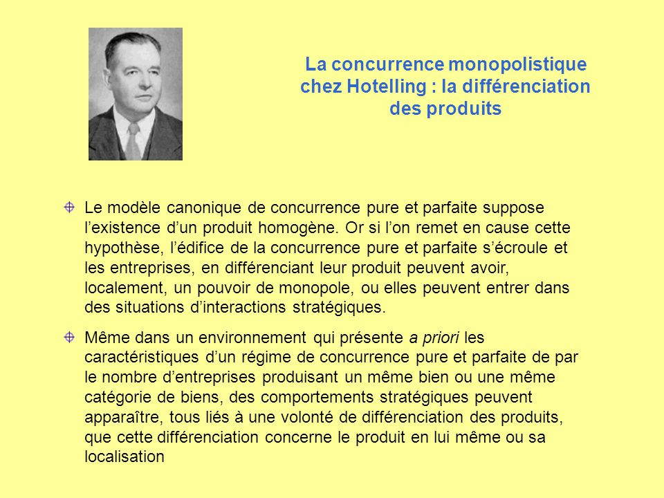 La concurrence monopolistique chez Hotelling : la différenciation des produits
