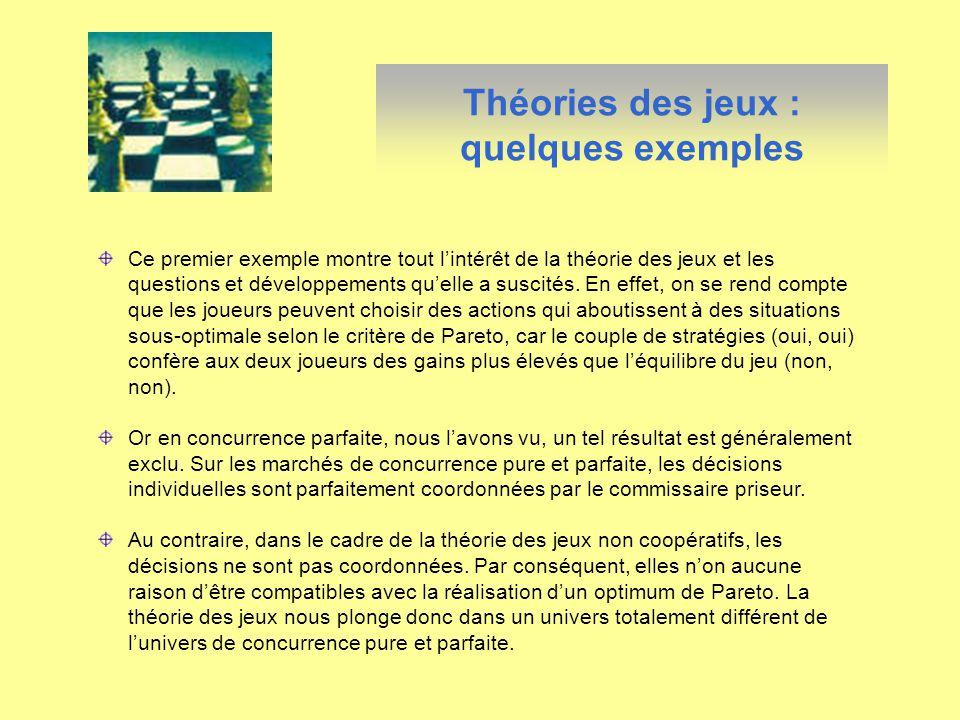 Théories des jeux : quelques exemples