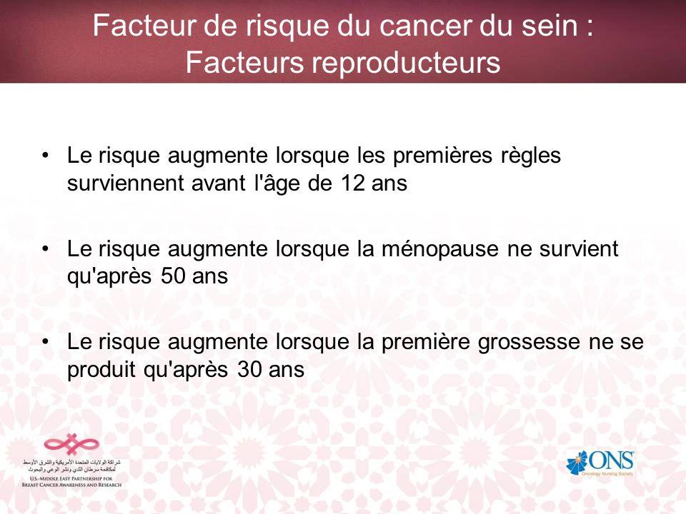 Facteur de risque du cancer du sein : Facteurs reproducteurs
