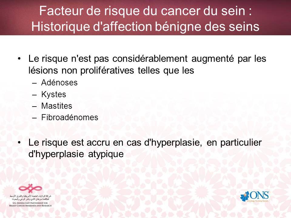 Facteur de risque du cancer du sein : Historique d affection bénigne des seins