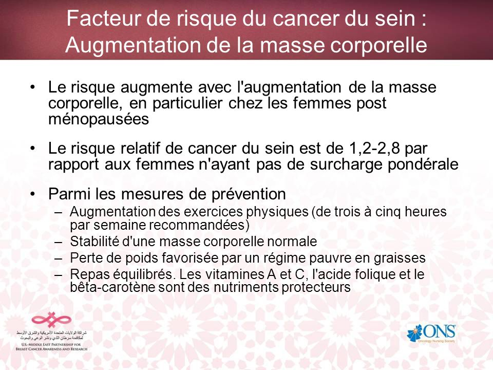 Facteur de risque du cancer du sein : Augmentation de la masse corporelle