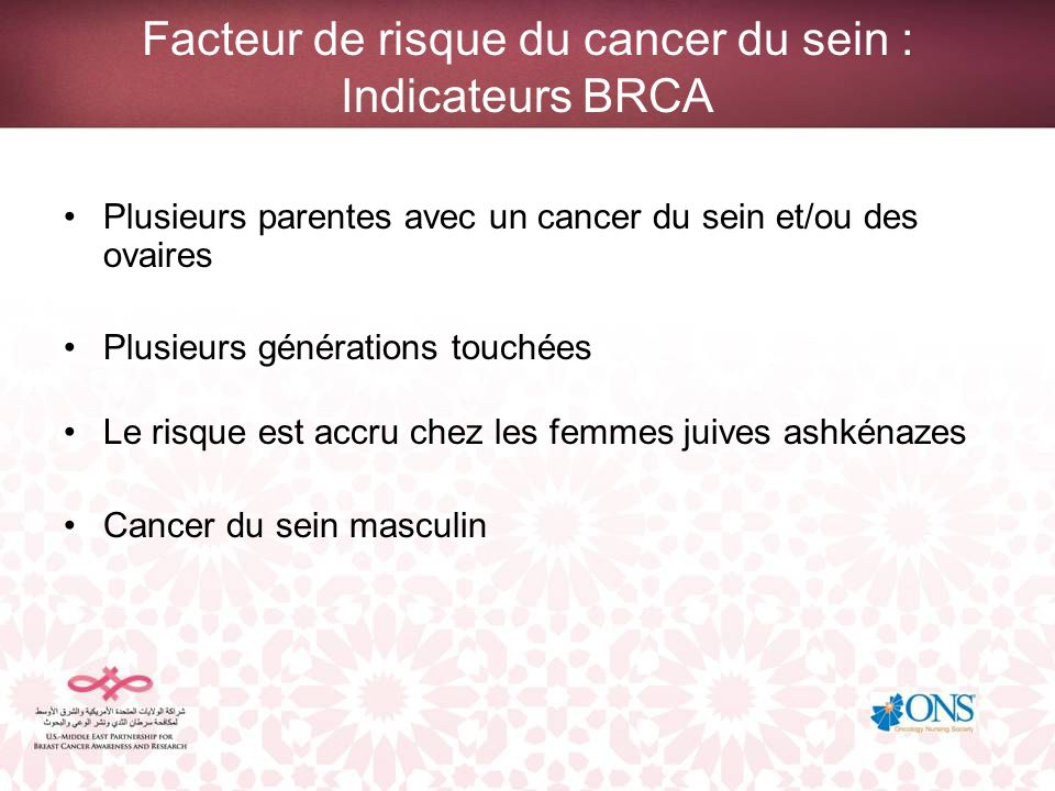 Facteur de risque du cancer du sein : Indicateurs BRCA