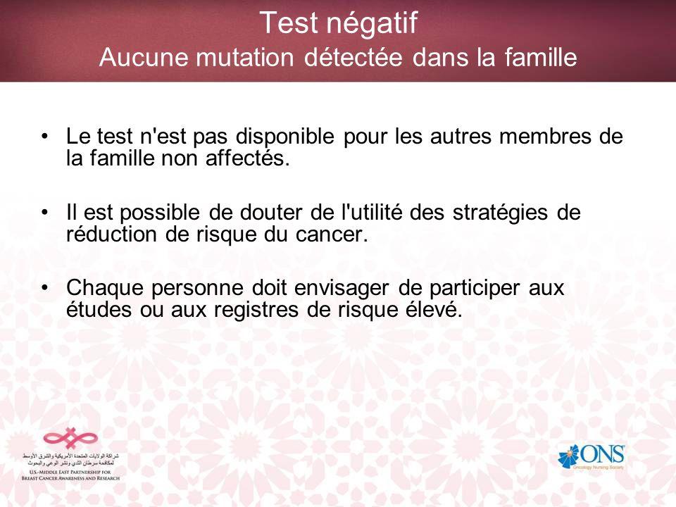 Test négatif Aucune mutation détectée dans la famille