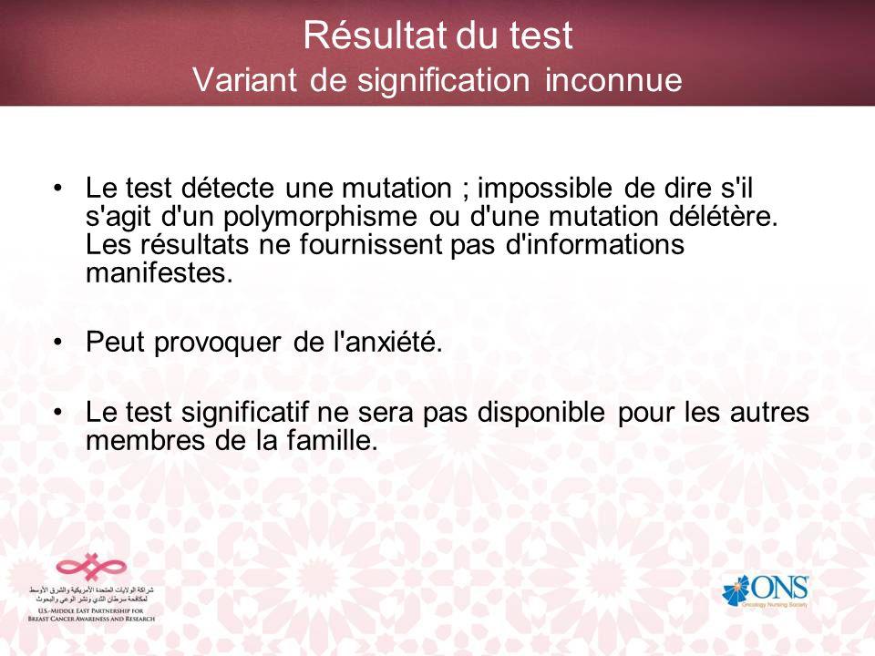 Résultat du test Variant de signification inconnue