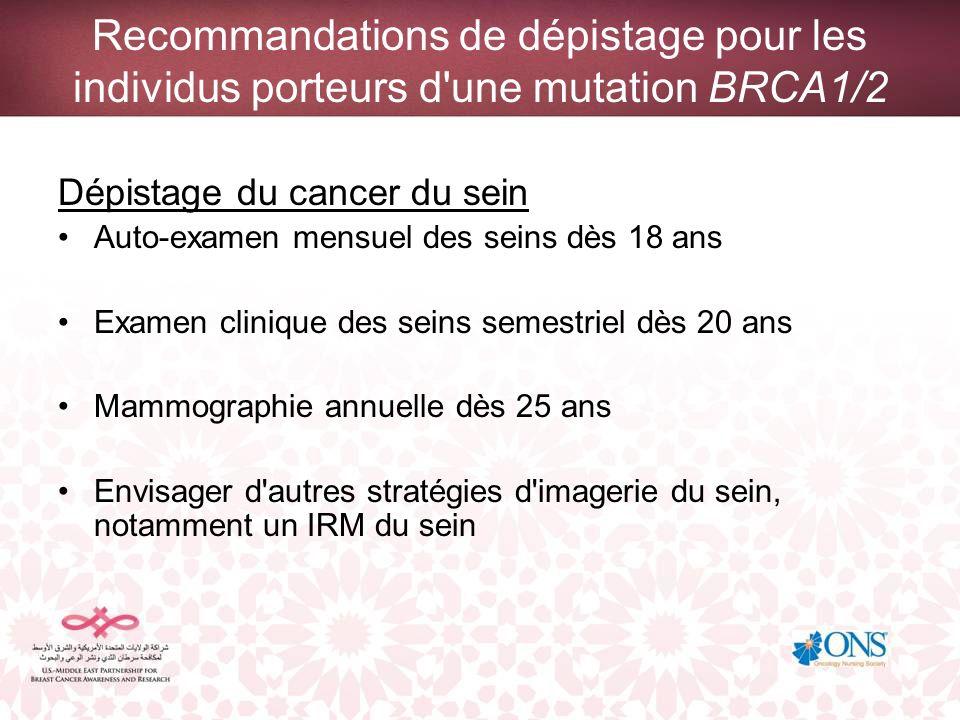 Recommandations de dépistage pour les individus porteurs d une mutation BRCA1/2