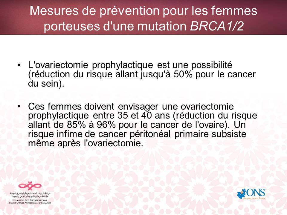 Mesures de prévention pour les femmes porteuses d une mutation BRCA1/2