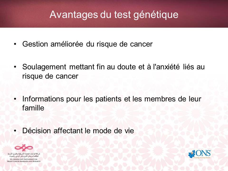 Avantages du test génétique