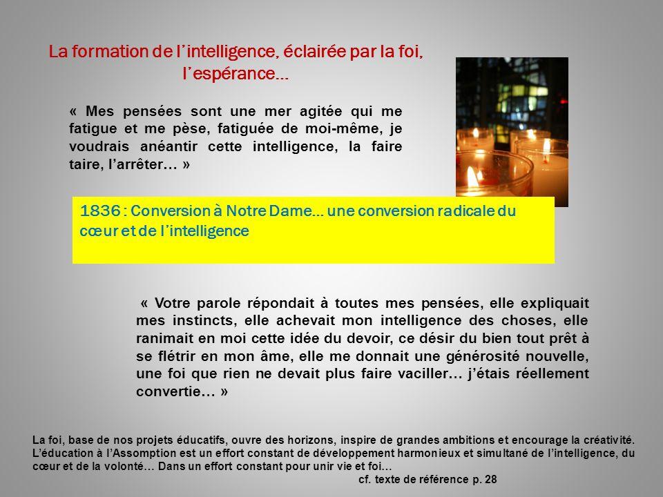 La formation de l'intelligence, éclairée par la foi, l'espérance…