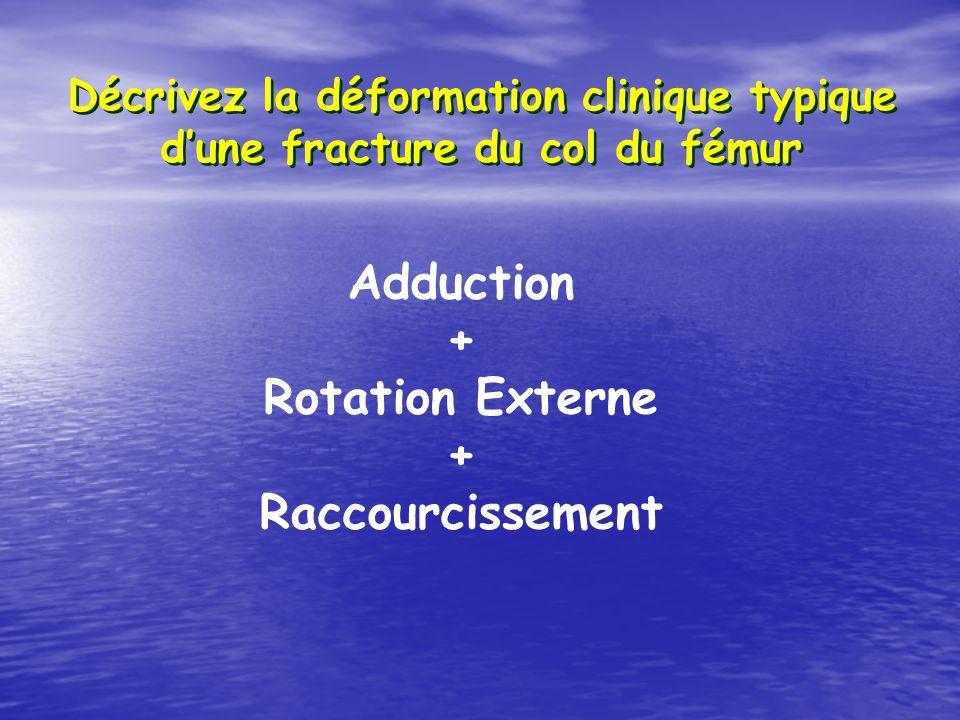 Adduction + Rotation Externe Raccourcissement