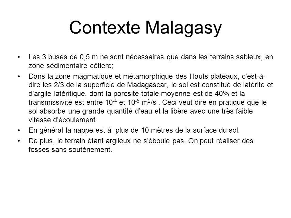 Contexte Malagasy Les 3 buses de 0,5 m ne sont nécessaires que dans les terrains sableux, en zone sédimentaire côtière;