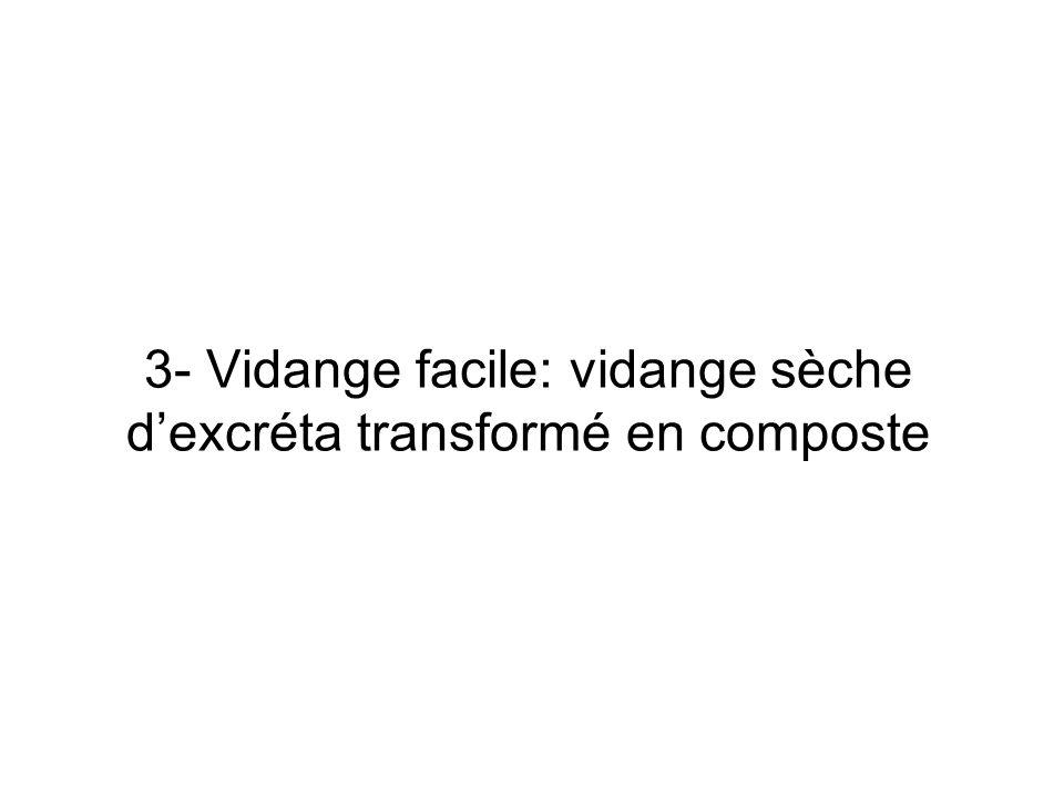 3- Vidange facile: vidange sèche d'excréta transformé en composte