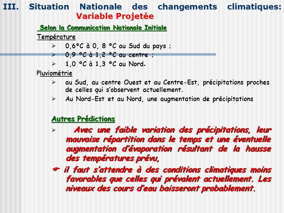 III. Situation Nationale des changements climatiques: Variable Projetée