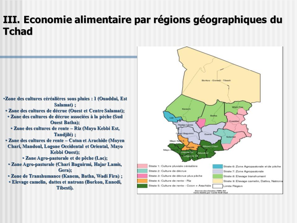 III. Economie alimentaire par régions géographiques du Tchad