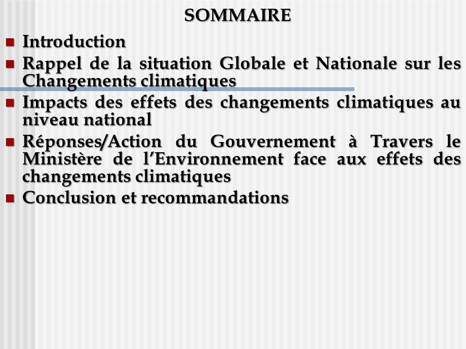 SOMMAIRE Introduction. Rappel de la situation Globale et Nationale sur les Changements climatiques.