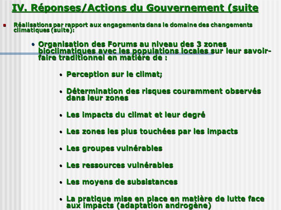 IV. Réponses/Actions du Gouvernement (suite