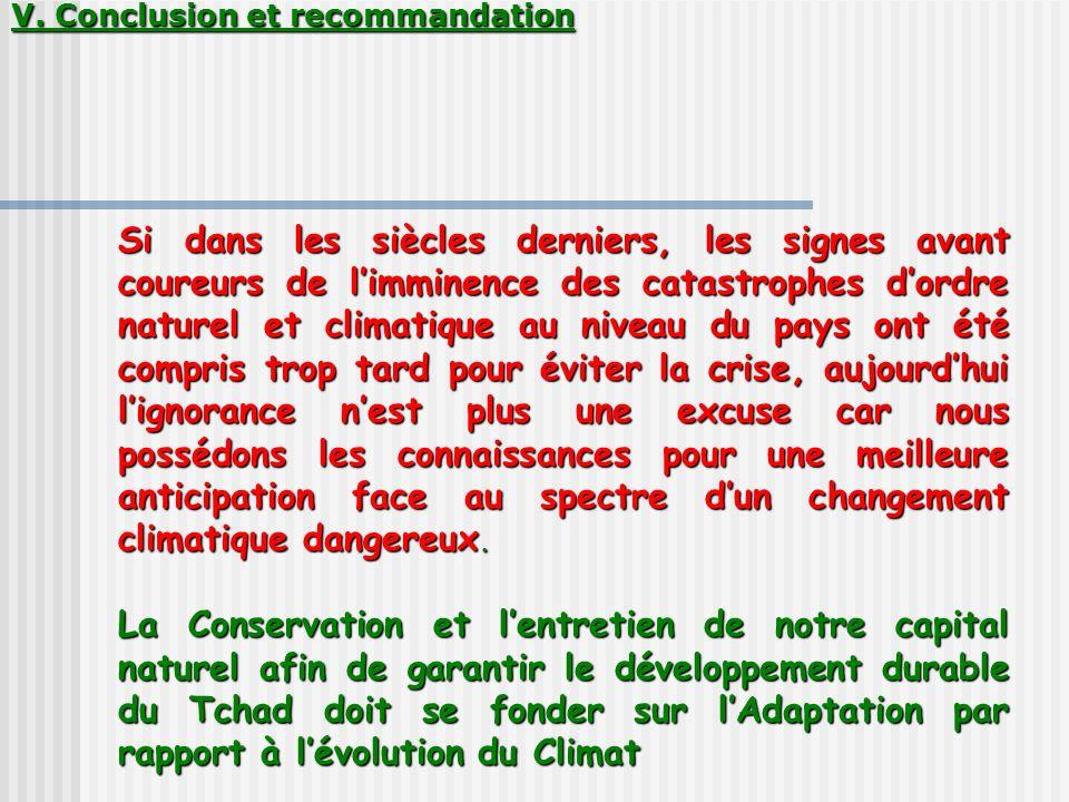 V. Conclusion et recommandation