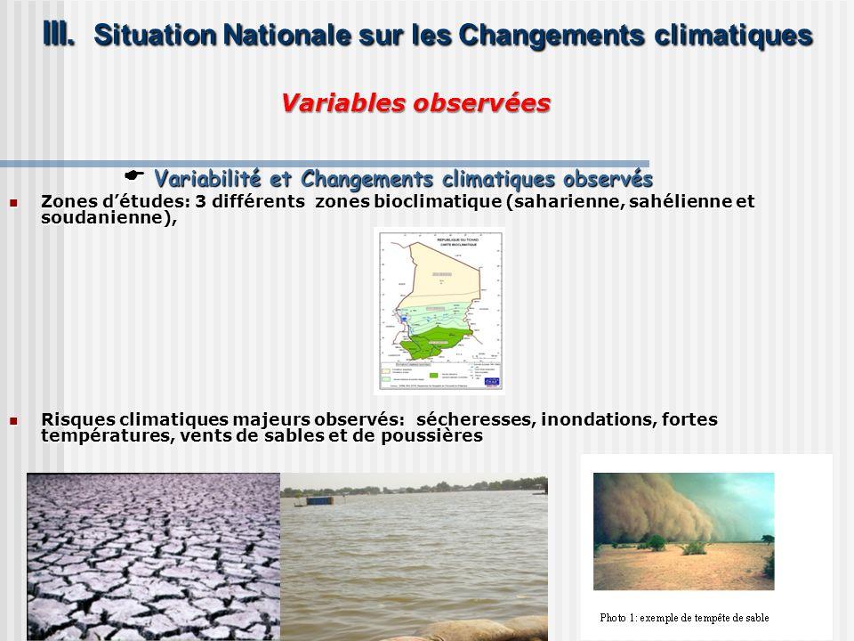 III. Situation Nationale sur les Changements climatiques