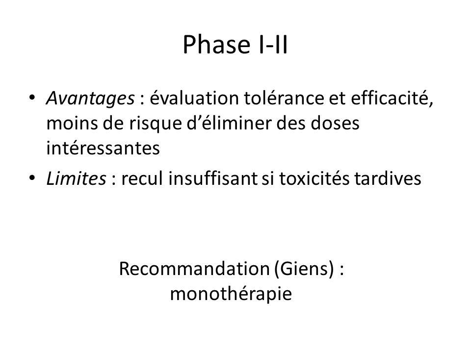 Phase I-II Avantages : évaluation tolérance et efficacité, moins de risque d'éliminer des doses intéressantes.