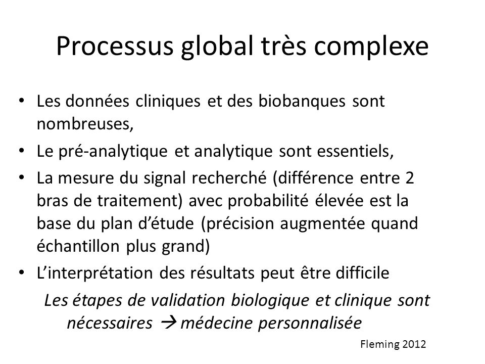 Processus global très complexe