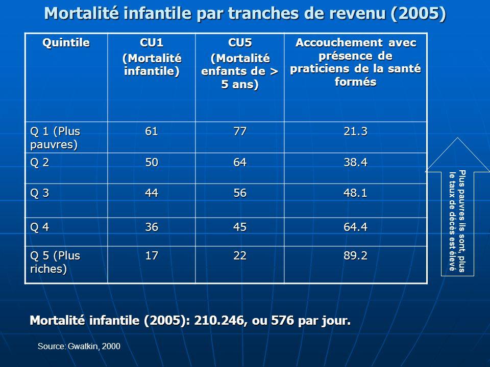Mortalité infantile par tranches de revenu (2005)