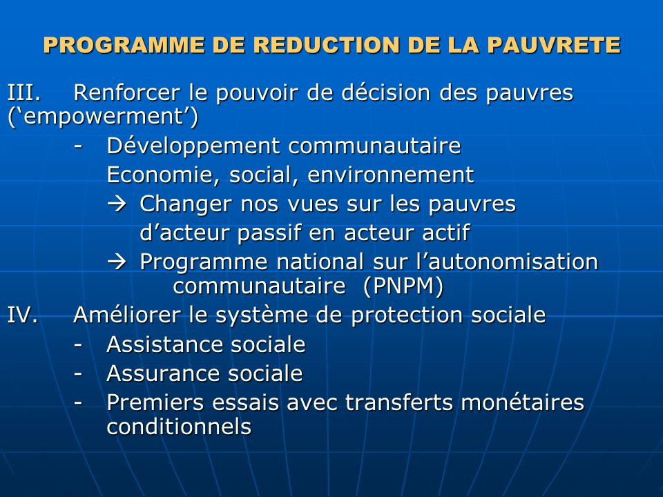 PROGRAMME DE REDUCTION DE LA PAUVRETE