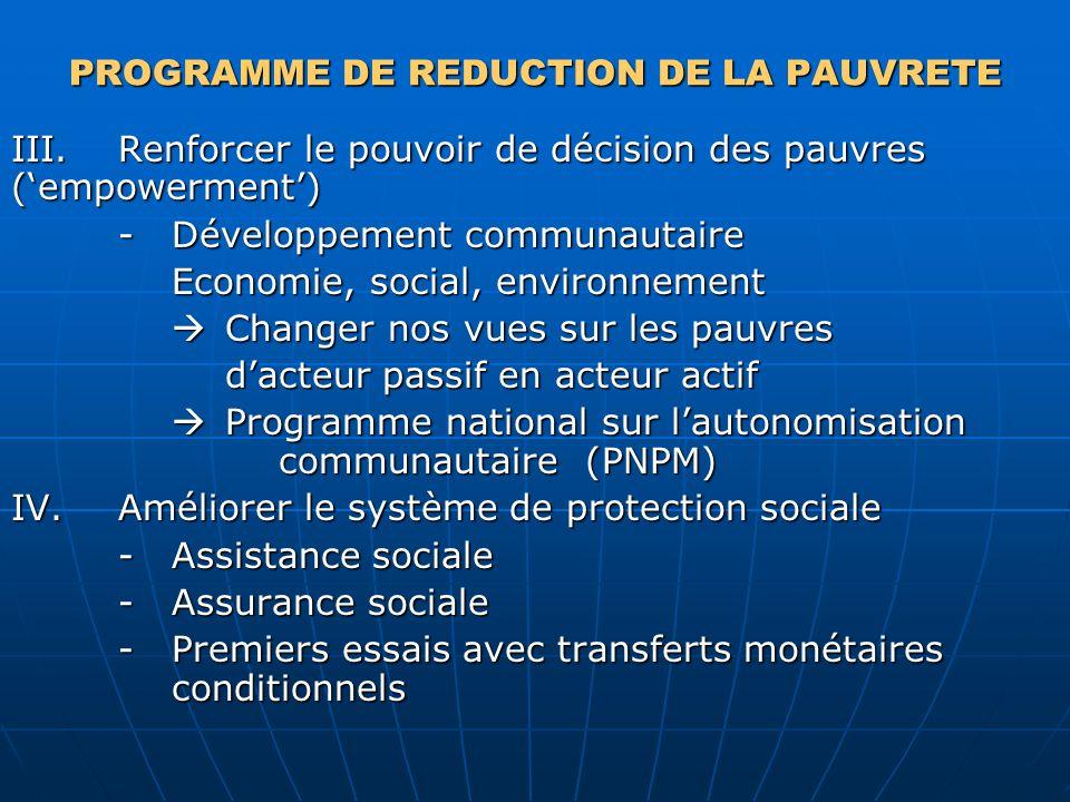 PROGRAMME DE REDUCTION DE LA PAUVRETE