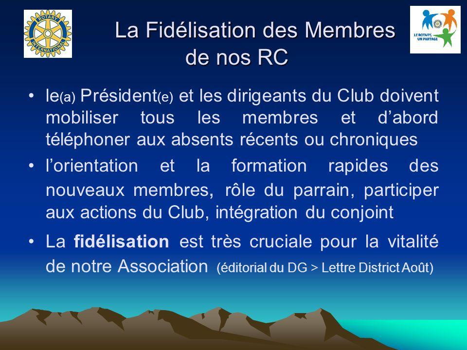 La Fidélisation des Membres de nos RC