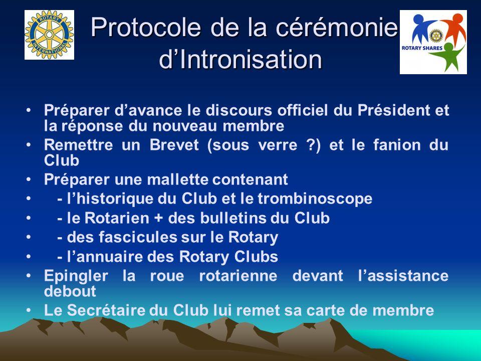 Protocole de la cérémonie d'Intronisation